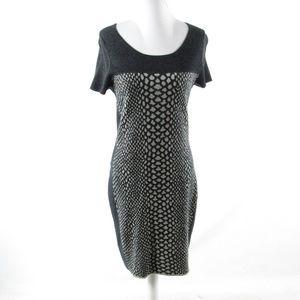 Magaschoni gray short sleeve sheath dress M